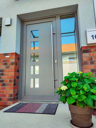 Entrance door to modern grey house with paving footpath and beautiful potted plants, bushes and green grass