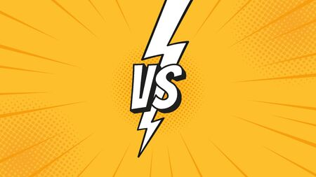 Versus VS sign with lightning bolt isolated on fight backgrounds in flat comics style design with halftone, lightning for battle, sport, competition, contest, match game. Vector illustration.