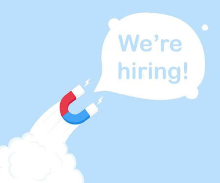 A magnet in the form of a rocket attracting We're hiring! Modern flat style vector illustration.
