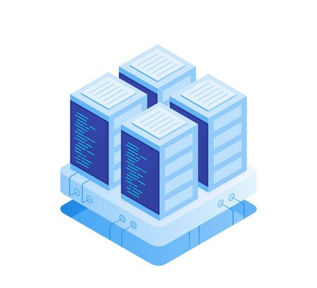 Concept of server room. Hosting with cloud data storage and server room. Server rack. Modern Vector illustration in Isometric style.