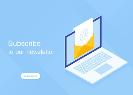 Subscribe to our newsletter. Isometric laptop with newsletter in open envelope. Modern vector illustration in isometric style. Çizim