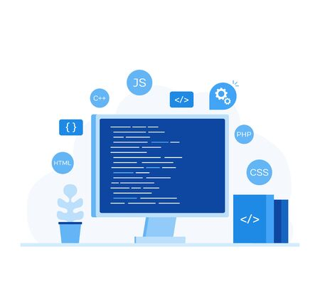 Computer screen with program code. Modern flat style vector illustration.