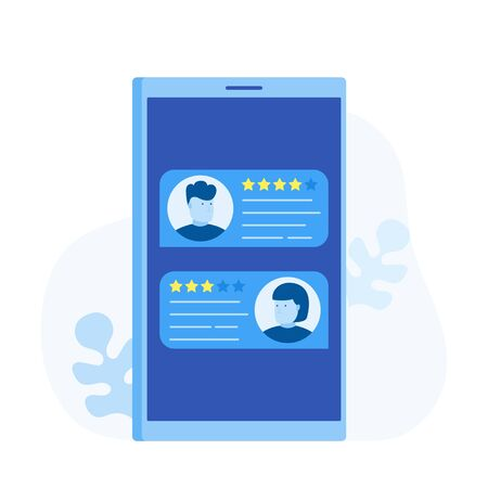Review ,feedback, rating bubble speech on smartphone, phone reviews stars and testimonials messages. Modern flat style vector illustration. Иллюстрация