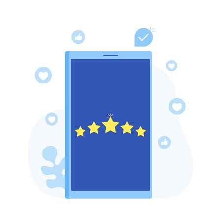Rating, feedback, comments design concept. Phone screen with stars. Modern flat style vector illustration.
