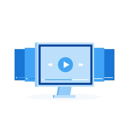Video tutorials icon concept. Online Webinar and Video Conference sign design. Study and Learning background. Modern vector illustration in flat style.