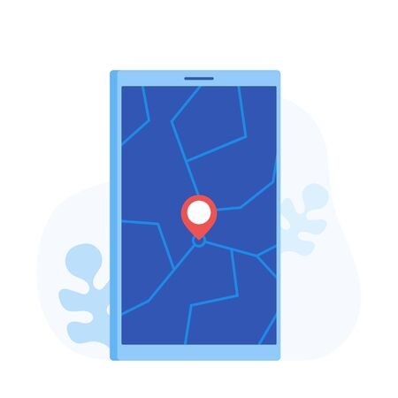 Geo Pin Tag on mobile phone display. Smartphone with map on screen. GPS, Destination, Traveling, Map Navigation, Location. Modern flat style vector illustration.