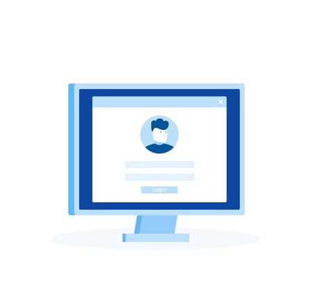 Login page on computer screen. Notebook and online login form, sign in page. User profile, access to account concepts. Modern flat style vector illustration.