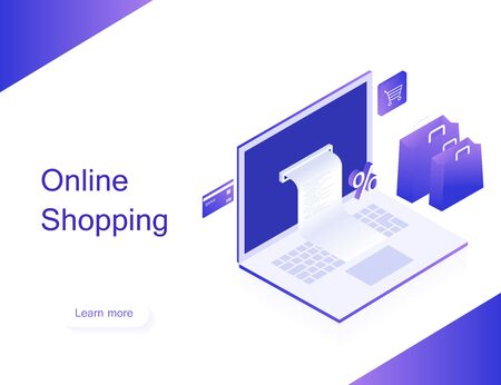 Concept of online shop. Transfer money from card. Isometric image of laptop, bank card and shopping bag on white background. 3d flat design. Modern vector illustration.