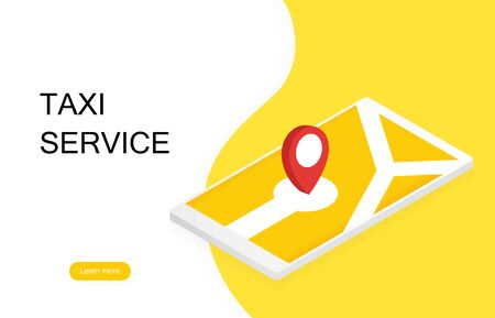 Taxi banner. Online mobile application order taxi service.