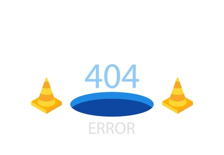 404 error page template for website. Modern illustration flat style.