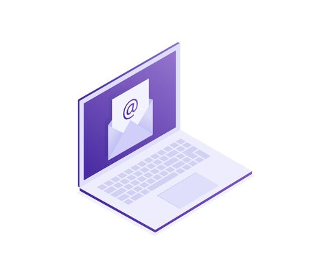 Laptop with envelope on screen. E-mail, email marketing, internet advertising concepts. Modern isometric illustration.