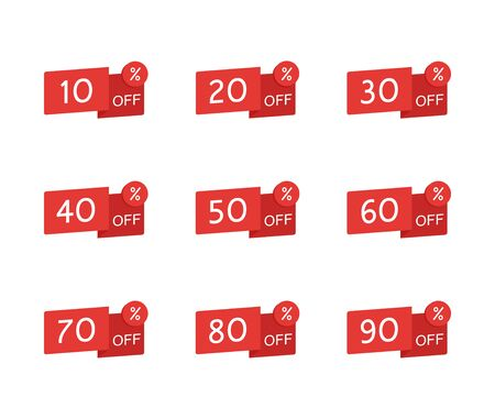 Sale tag set. Price off and discount tag design elements. Modern illustration flat style.