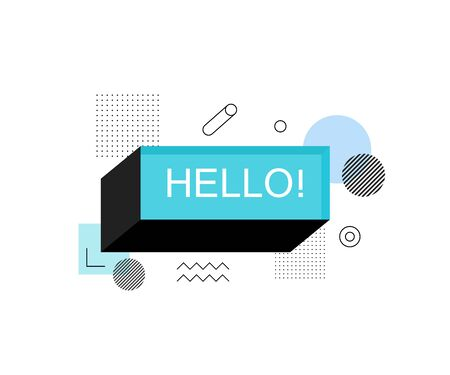 Universal trend halftone geometric shapes juxtaposed. Hello abstract speech bubble box label. Modern illustration flat style. Ilustração