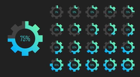 Set of circle percentage diagrams from 0 to 100 for web design. Loading process. Modern vector illustration flat style.