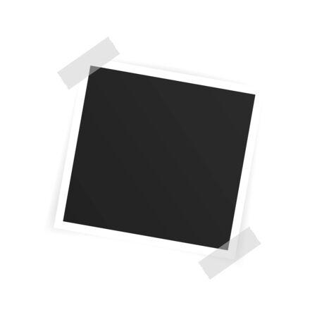 Vector Photo frame mockup design. Photo frame on sticky tape isolated on white background. Vector illustration.