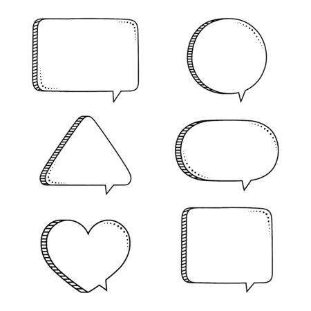 Super set hand drawn Speech Bubble. Space for quote and text. Vector illustration.
