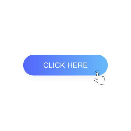 Click here button with hand pointer clicking. Modern flat style vector illustration.