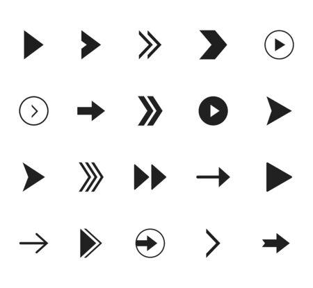 Super set different arrows mark. Flat style vector illustration.