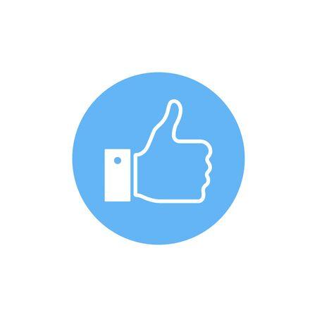 Thumbs up. Like icon. Flat vector illustration. 向量圖像