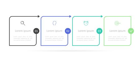 Infographics design and marketing icons. Business concept with 4 options, steps or processes. Modern vector illustration.