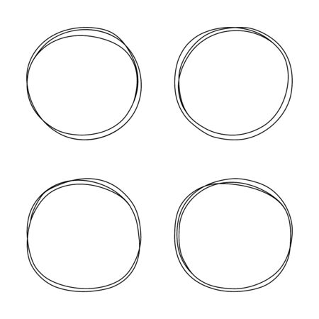 Hand drawn line circle set. Circular scribble doodle round circles for message note mark design element. Vector illustration.