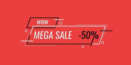 Mega sale special offer end of season. Sale banner template design. vector illustration.