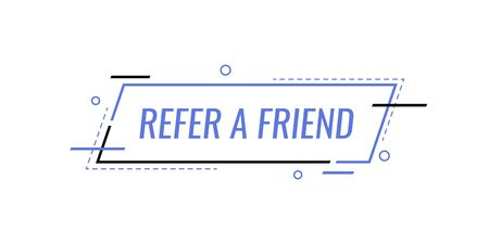 Refer a friend , banner template design for business, marketing and advertising. Modern flat style vector illustration.  イラスト・ベクター素材