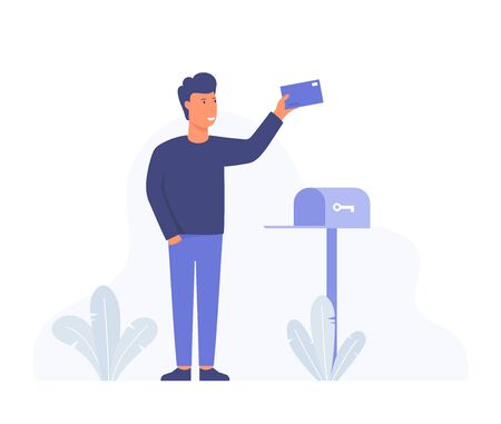 Happy man got an important letter. Businessman is standing nearby mailbox and holding an envelope. Modern hand drawn cartoon vector illustrations.