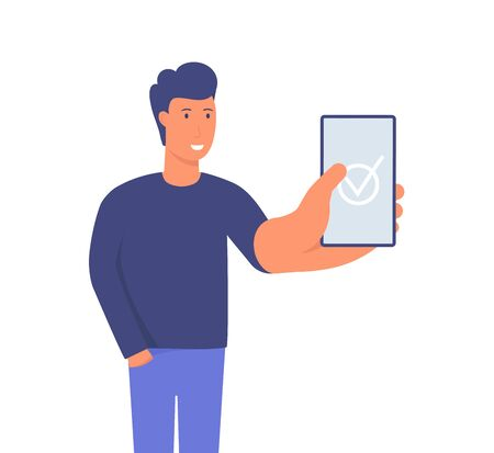 Businessman showing smartphone display with successful check mark close up. Modern hand drawn cartoon vector illustrations. Vectores