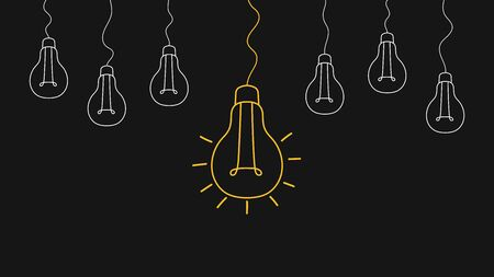Light bulbs. Creativity concept with innovation.Strategy and leadership on teamwork. Opportunity, solution and success. Vector illustration. Ilustração