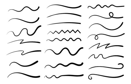 Hand drawn collection of curly swishes, swashes, swoops. Calligraphy swirl. Quotes icons. Highlight text elements.