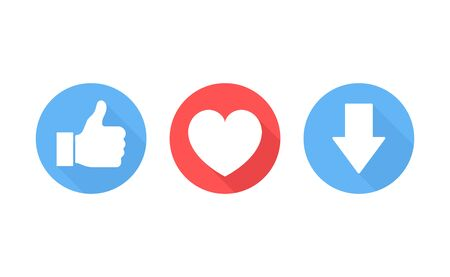 Thumbs up, heart icon and download button on a white background. Modern flat style vector illustration.