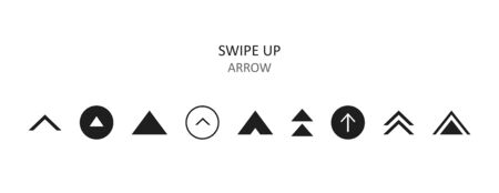Swipe up icon set isolated on background for social media stories, scroll pictogram. Arrow up  for blogger.