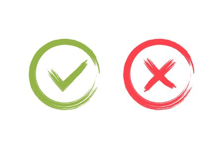 Check mark green and red brush icons. Vector illustration. Ilustração
