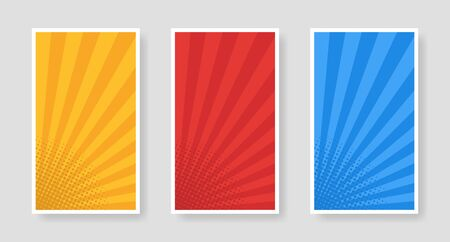 Stylish set of halftone banners poster template. Affiche, paper sheet. Vector advertising banner mockup stand exhibit.