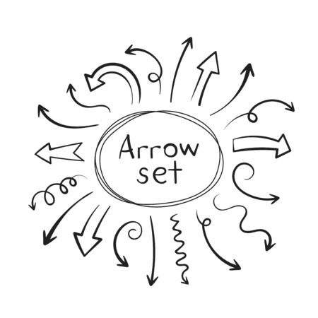 Super set different hand-drawn arrows, vector graphic design. Vettoriali