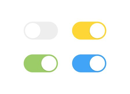 On and Off toggle switch buttons. Modern flat style vector illustration. Illustration