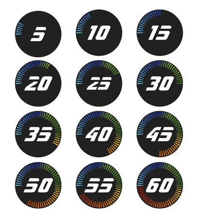 Set of timers. Full rotation arrow timer diagram from 5 second or minutes to 60. Colored flat icons. Modern vector illustration flat style.