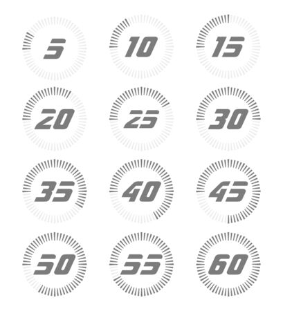 Set of timers. Full rotation arrow timer diagram from 5 second or minutes to 60. Modern vector illustration flat style.