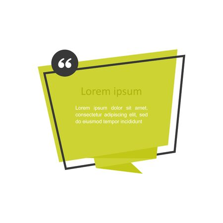 Origami style sticker and banner template. Quote text bubble. Commas, note, message and comment Vector illustration in flat style.