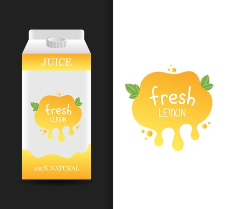 Blank lemon fresh juice carton branding box. Juice or milk cardboard package. Drink box. Modern vector illustration.