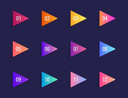 Super set arrow bullet point triangle flags on dark blue background. Colorful gradient markers with number from 1 to 12. Modern vector illustration.