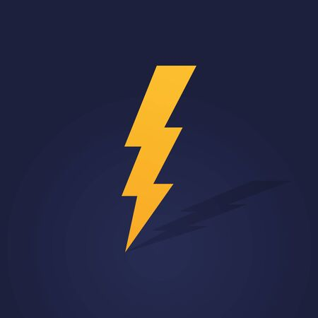 Lightning bolt with shadow. Thunderbolt, lightning strike. Modern flat style vector illustration.