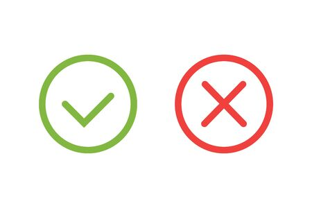 Check mark green and red icons. Modern vector illustration flat style.
