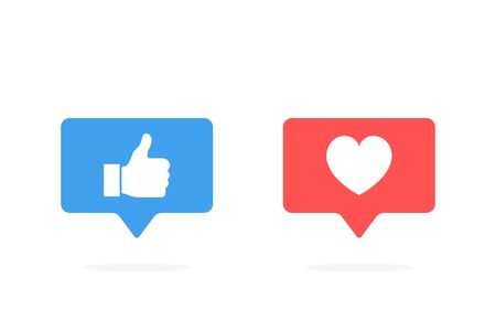 Thumbs up and heart icon in rounded square pin. Modern flat style vector illustration.