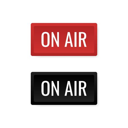 ON AIR studio light sign. Media broadcasting warning sign. Live board. Modern flat style vector illustration.