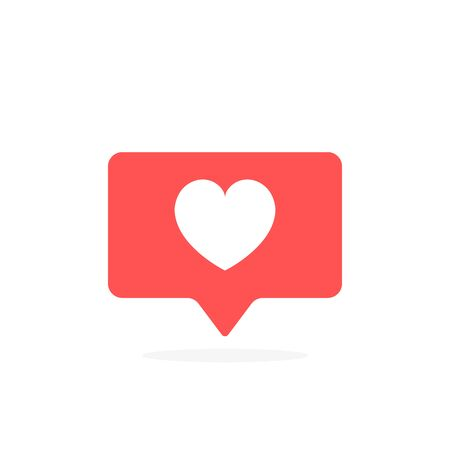Like notifications, heart icon in rounded square pin. Modern flat style vector illustration.