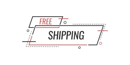 Free shipping delivery banner design. Truck product shipping promotion typography. Vector illustration.