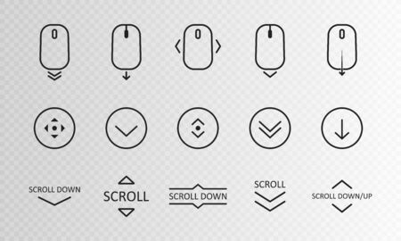 Scroll down icon. Scrolling mouse symbol for web design isolated on transparent background. Modern vector illustration.