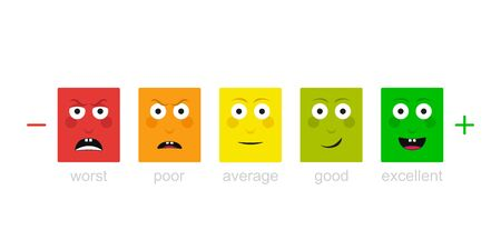 Emotion feedback scale. Angry, sad, neutral, satisfied and happy emoticon set review of consumer. Funny cartoon hero emotion rating.